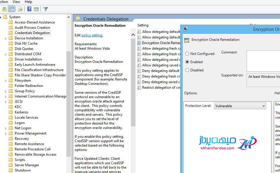 آموزش رفع خطای عدم اتصال به سرور مجازی ویندوز Remote Desktop An Authentication Error has Occurred.CredSSP